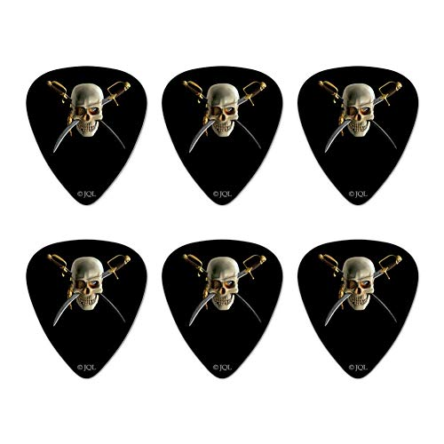 Pirate Skull Crossed Swords Patch Novelty Guitar Picks Medium Gauge - Set of 6