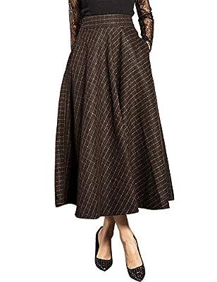 IDEALSANXUN Women's Small Plaid Retro Flared Wool Midi Skirt