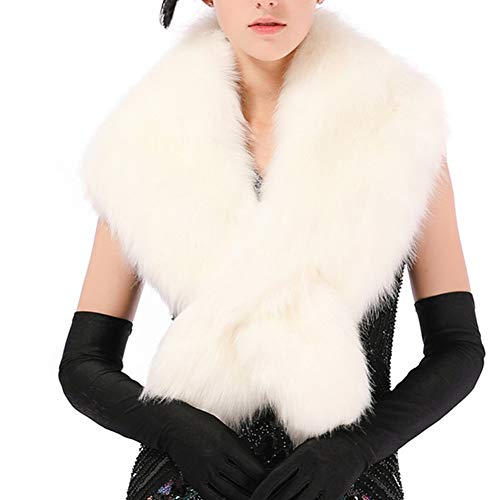 Dikoaina Extra Large Women's Faux Fur Collar for Winter Coat,White,120cm