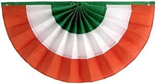 """product image for Independence Bunting St. Patrick's Day Decorations American Made Irish Flag Banner! Get a Little Luck of The Irish with Our Fully Sewn Irish Bunting (Polycotton, 12"""" x 24"""")"""