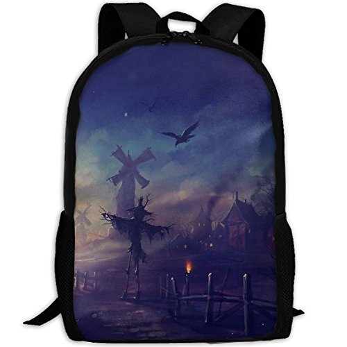 Webb Backpack Briefcase Laptop Travel Hiking School Bags Scary Happy Halloween Stylish Daypacks Shoulder (Happy Halloween Sms)