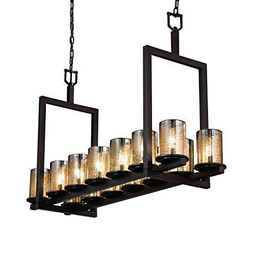 Justice Design Group - Fusion Collection - Dakota Bridge Chandelier (Short) - Cylinder with Flat Rim - Dark Bronze Finish with Mercury Glass Dakota Chandelier