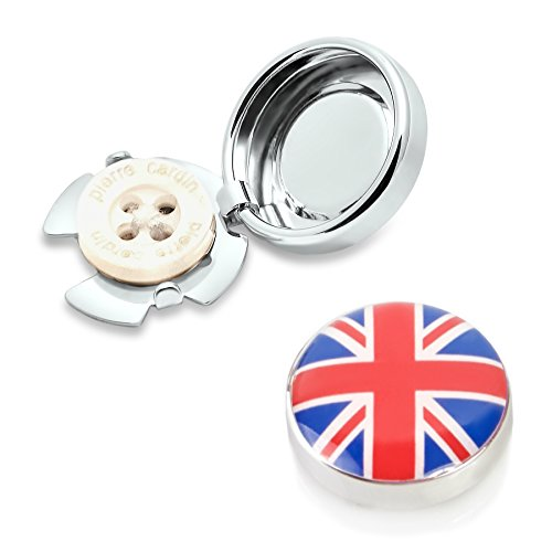 BUTTONCUFF Union Jack Button Covers - Imitation Cuff Links for Any Shirt, Jacket or Collar - Silver Union Jack