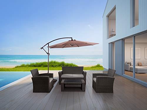 Westin Outdoor Delano 4-Piece Patio Conversation Sofa Set with Cushions, Gray