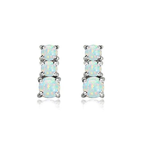 3 Stone Hoop Earrings (Sterling Silver Simulated White Opal Round Graduating Three Stone Stud Earrings)