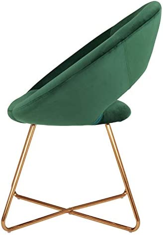 41UX4fosvGL. AC Duhome Modern Accent Velvet Chairs Dining Chairs Single Sofa Comfy Upholstered Arm Chair Living Room Furniture Mid-Century Leisure Lounge Chairs with Golden Metal Frame Legs Set of 2 Dark Green    Product Description