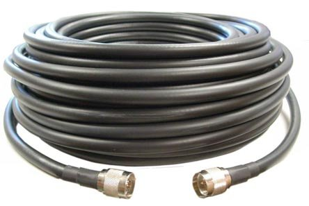 100 feet of Equivalent Ultra Low Loss Coax Cable *Black Color* with N Male Ends by Times Microwave MADE IN USA