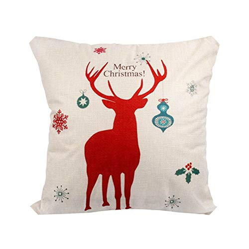 Noon-Sunshine decorative-plaques 45x45cm Pillow Case Christmas Decorations for Home Santa Clause Christmas Deer Cotton Linen Cover,Style -