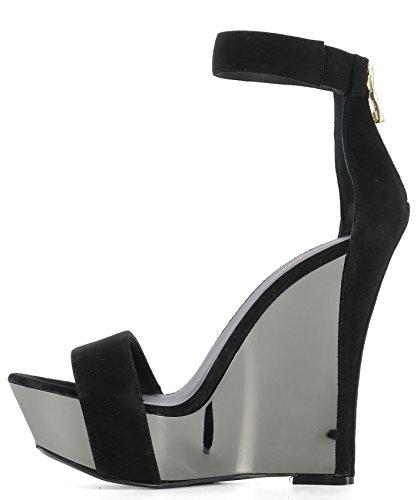 S7CSS150404C176 Compensées Suède Femme Chaussures Balmain Noir 4qZwx504H