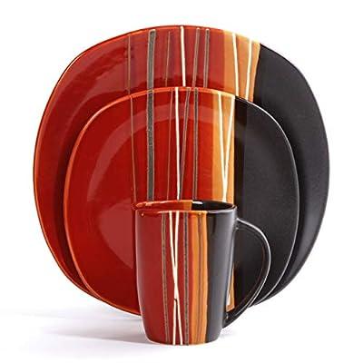 Home Trends 61590.16RM Bazaar Red 16-Piece Reactive Glaze Square Dinnerware Set, Red/Black/White/Orange Stripes