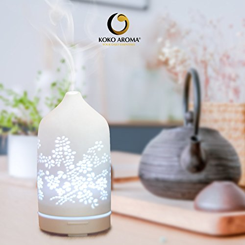 KOKO AROMA Essential Oil Diffuser Aromatherapy Humidifier: Best Floral Ceramic Infuser 120mL 7 Color LED NightLights Cool Mist Air Defuser Auto Shut-Off for Home Office Bedroom Baby Yoga