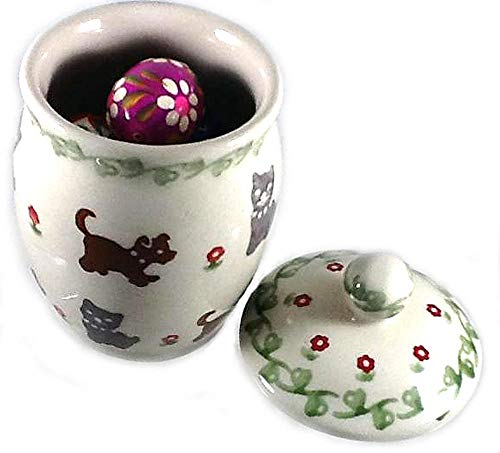Polish Pottery 3/4 Cup Lidded Jar in Pattern Dogs and Cats - Filled with 5 Wooden Polish Easter Eggs Pisanki