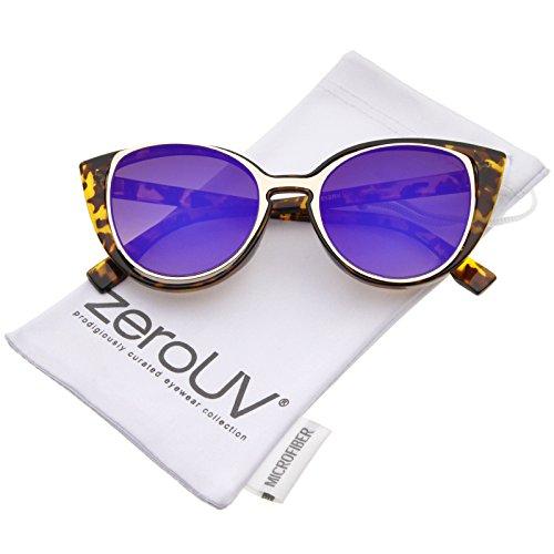 zeroUV - Women's Open Metal Insert Colored Mirror Lens Cat Eye Sunglasses 51mm (Tortoise-Gold / Purple - Colored Tortoise Glasses