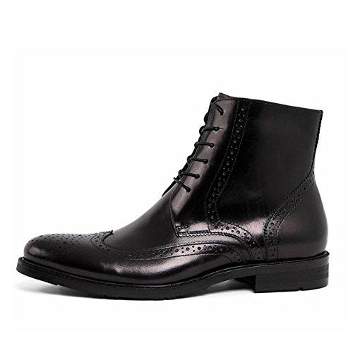 Santimon-mens Echt Leer Handgeweven Hoge Hoge Kant Enkellaarsjes Zakelijke Oxford Schoenen Zwart