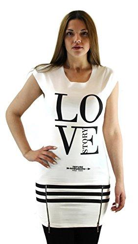 citydress24 - Camiseta de manga larga - Asimétrico - para mujer blanco