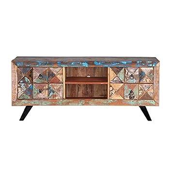 mueble tv en madera reciclada multicolor