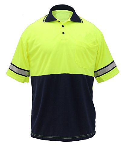 First Class Two Tone Polyester Polo Shirt with Reflective Stripes Lime Yellow/Navy