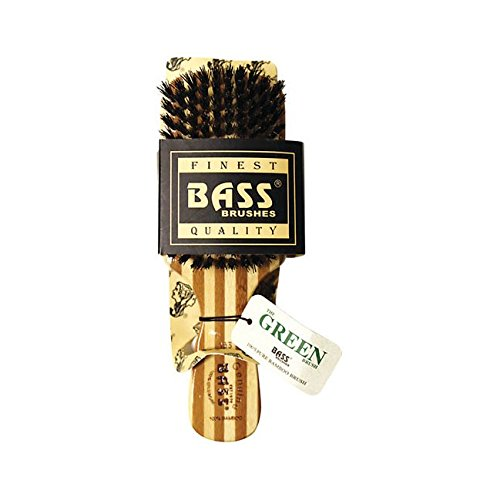 Bass Brushes 100% Wild Boar Bristle Classic Men's Club Style Hair Brush, with 100% Pure Bamboo Handle, Shines, Conditions, and Polishes. Model - Bass Hair Brush