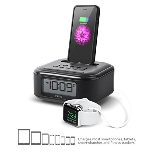 iHome iPL23V2BX Alarm Clock FM Radio Lightning iPhone Charging Dock Station iPhone Xs, XS Max, XR, X, iPhone 8/7/6 Plus USB Port to Charge Any USB Device