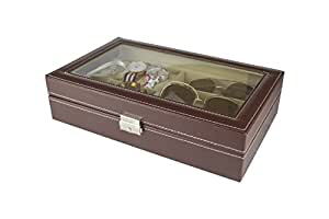 Paide Caja para Relojes - Estuche para Relojes con 9 Compartimentos - Organizador de Relojes y Joyas (Marrón)