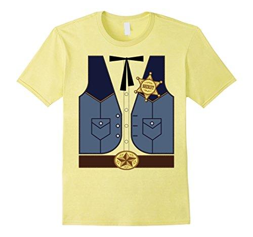 Men's Western Cowboy Sheriff Costume T-Shirt 2XL Lemon (Mens Cowboy Costume Tshirt)