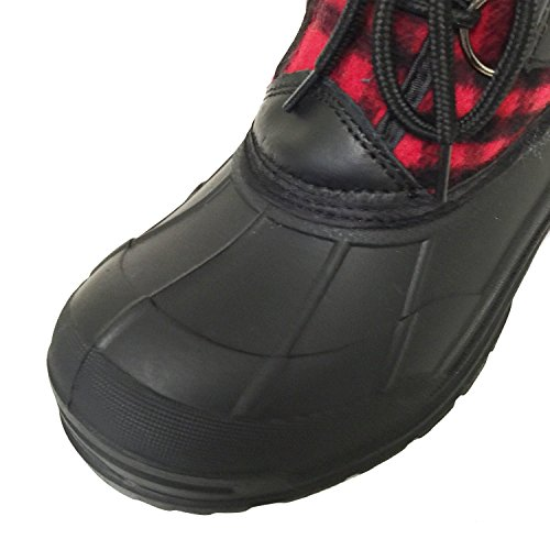 Red Plaid Weather Cold Winter Women's Shoes G4U Plaid Duck Black Snow Waterproof CDS Boots up Flannel Fur Insulated Lace XwaUXHq1nx