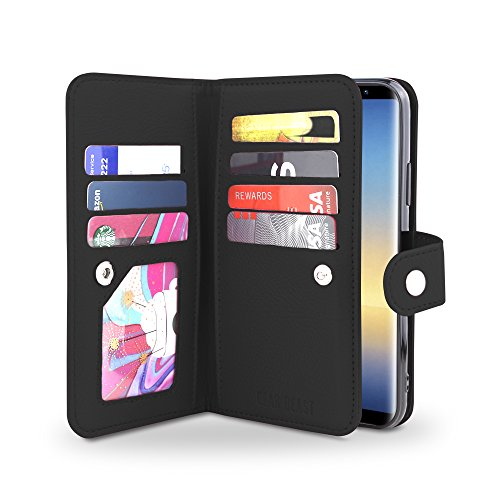 Gear Beast Galaxy Note 8 Wallet Case, Flip Cover Dual Folio Case Slim Protective PU Leather Case 7 Slot Card Holder Including ID Holder Inner Pockets Wristlet for Men and Women