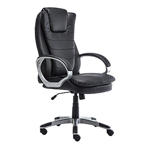 GreenForest Office Swivel Chair High-Back Home Computer Task Chair Adjustable PU Leather Executive Desk Chair with Headrest, (Posture Swivel Tilt Chair)