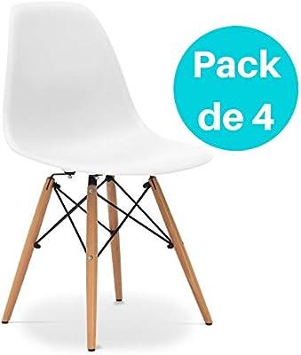 Noorsk Design Lote de 4 sillas Tower Blancas: Amazon.es: Hogar