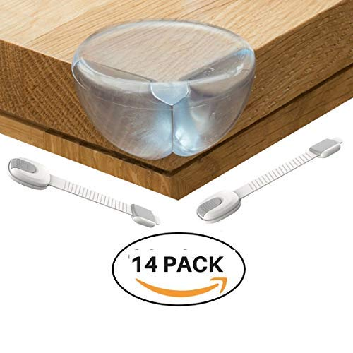 12 Clear Corner Guards & Universal Cabinet Locks 2 Pack By AR4U: Ultimate Child Proofing Corner Protector Kit- Makes Home Safe for Babies and Toddlers.
