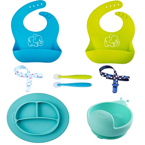 Baby Feeding Set,Silicone Bib Plates Bowls Spoons Suction Bowl and 2 Pacifier Clips for Baby or Toddler-Spend Less Time Cleaning and Easily to Use(8PCS).