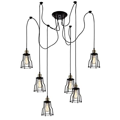 Ohr Lighting Edison Wire Cage Chandelier 6 pendants BULBS INCLUDED, Matte Black/Antique Brass (ED263P-6)