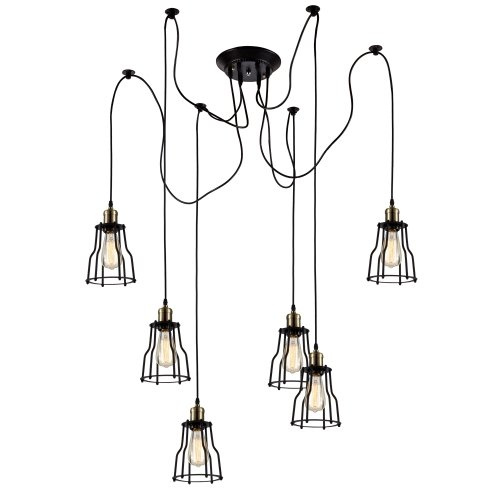 Ohr Lighting Edison Industrial 6 Hanging Pendants Lights Fixture Farmhouse Metal Brushed For Sale