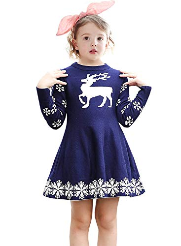 - NNJXD Girls Long Sleeve Reindeer Snowflake Winter Knit Sweater Christmas Dress Size (100) 1-2 Years Blue