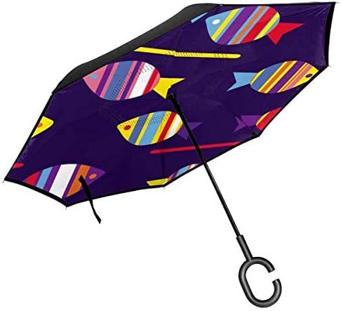 カラフルな魚 ユニセックス二重層防水ストレート傘車逆折りたたみ傘C形ハンドル付き