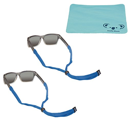 Chums Kids Child Original Cotton Eyewear Retainer Sunglass & Eyeglass Strap for Children | 2pk Bundle + Cloth, Royal Blue - Classic Eyewear Retainers