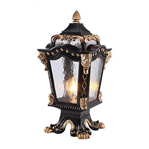 Mpotow Classical Continental Waterproof Metal Illumination Pillar Light Household Villa Fence Outdoor Post Lantern E27 Graden Patio Pedestal Light Outside Park Lawn Column Light