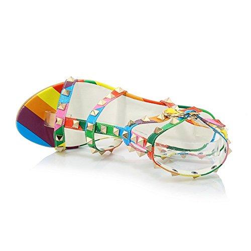 Adee Ladies Studded Open-Toe Polyurethane Sandals Multicoloured TsSkQN5Ux