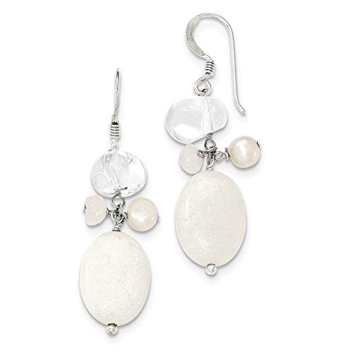 ing Silver Freshwater Cultured Pearl/moonstone/rock Quartz/white Jade Drop Dangle Chandelier Earrings Fine Jewelry Ideal Gifts For Women Gift Set From Heart (Cultured Pearl Moonstone Earrings)