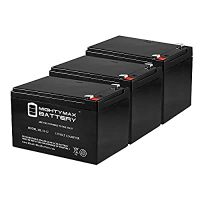 ML12-12 - 12V 12AH F2 SLA AGM DEEP-CYCLE RECHARGEABLE BATTERY - 3 Pack - Mighty Max Battery brand product