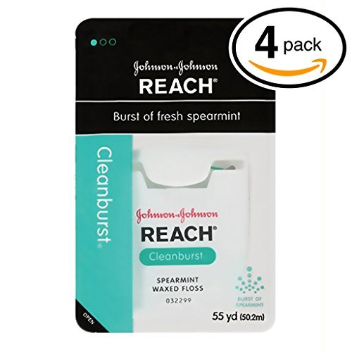 (PACK OF 4) Johnson & Johnson REACH Waxed Floss. BURST OF FRESH SPEARAMINT! Removes Up to 2x More Plaque than Glide Floss! (Pack of 4, 55 Yards Each)