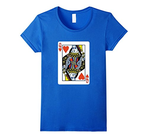 Women's Queen of Hearts Playing Card Poker Card Costume Tee Shirt Large Royal Blue (Full House Costumes)