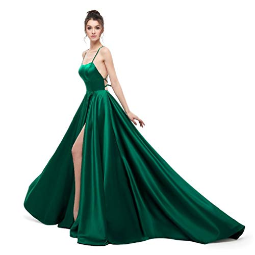 Fiesta Verde Espalda Mujeres Atractivo Dama Honor De q Largo Correa Cumpleaños Noche Vestido Bola 2 Cruzada Sin Vestidos Drohe qfxPpT