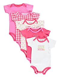 """Luvable Friends Baby Girls' """"Sugar & Spice"""" 5-Pack Bodysuits"""