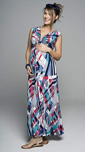 Sommerkleid Modell: Debora Umstandskleid Stillkleid Maxikleid f/ür Schwangere und Nicht-Schwangere Damen