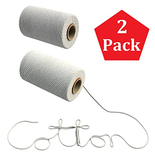 White Cotton Twine - 600 Feet (2 rolls of 300 ft) of Decorative Light Duty Craft String on Spool for Hanging Pictures, Wrapping Packages, Scrapbooking, and Tying Soaps