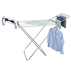 "mDesign Expandable Drying Rack with Bars - Collapsible Clothes Drying Rack - Accordion Drying Rack - Up to 68.3"" - Folding Laundry Rack for Laundry Rooms - Polished Silver/Gray"
