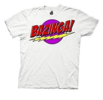 Big Bang Theory Bazinga Neon The Unknown White Mens Tee S