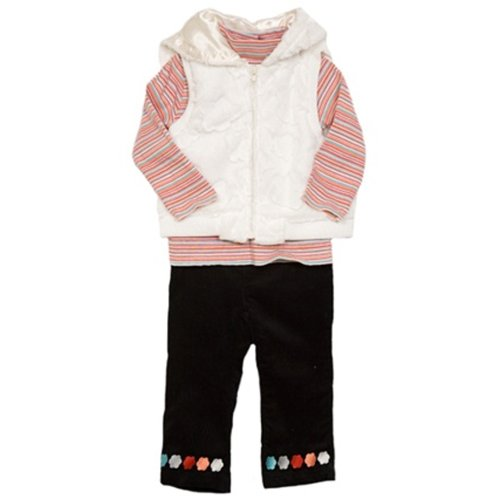 NWT BT Kids Baby Girl 3 pc faux fur vest set