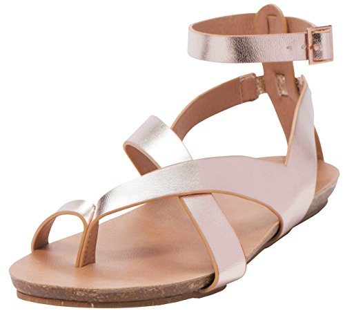 Cambridge Select Women's Crisscross Thong Buckled Ankle Strappy Flat Sandal (8 B(M) US, Rose Gold PU) by Cambridge Select (Image #1)